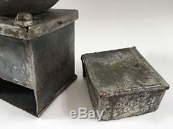 1800s PRIMITIVE+RARE Antique One-of-A-Kind Hand-Forged Metal Coffee Mill/Grinder