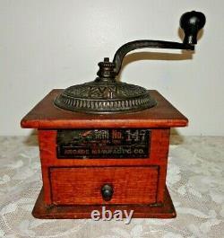 1880's Arcade Imperial No. 147 Coffee MILL Original Box Grinder Antique