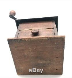 1890's Antique Arcade Imperial Cast Iron & Dovetailed Wood Coffee MILL Grinder