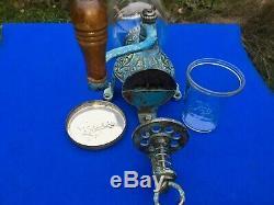 1920's Antique Arcade Crystal No 3 Coffee Grinder Robin's Egg Blue Original