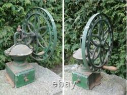19th Antique Huge Cast Iron Coffee Grinder / Spice Mill With Wheel Handle RARE