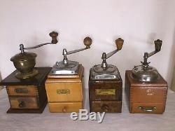 4 Molino de café de firmas JAVA, HAHA HARHAUS, SPECIAL. Antique Coffee grinder