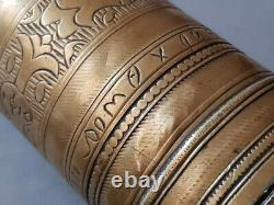 ANTIQUE 1899 ORIGINAL Armenian OTTOMAN HAND ENGRAVED bronze coffee grinder