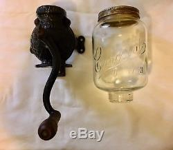 ANTIQUE ARCADE CRYSTAL No 3 COFFEE MILL GRINDER WALL MOUNT