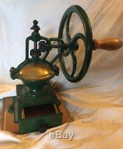 ANTIQUE Ampia Garanzia Vintage Cast Iron Coffee Mill Grinder Works