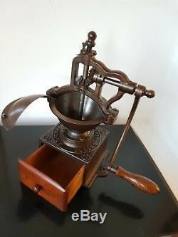 ANTIQUE CAST IRON COFFEE GRINDER BIG A1 PEUGEOT FRERES ex. CONDITION