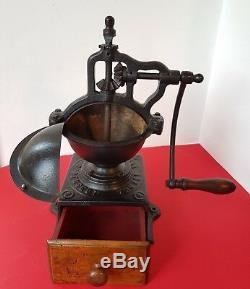 ANTIQUE CAST IRON COFFEE GRINDER BIG A2 PEUGEOT FRERES ex. CONDITION