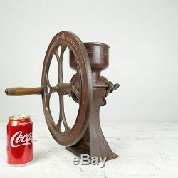 ANTIQUE CAST IRON CORN MILL NO. 1 1/2 MERCANTILE COFFEE BEAN GRINDER Vintage red