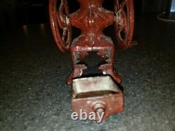 ANTIQUE CAST IRON SALESMAN SAMPLE DOUBLE WHEEL COFFEE MILL GRINDER With Drawer