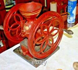 ANTIQUE ENTERPRISE COFFEE GRINDER WITH RED PAINT & Stencil