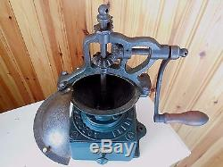 ANTIQUE FRENCH COFFEE GRINDER MILL PEUGEOT FRERES A0 size 1890's CAST IRON&WOOD