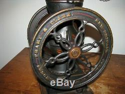 ANTIQUE LANDERS FRARY & CLARK COFFEE GRINDER / #20 Cast Iron two Wheel