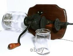 ANTIQUE ORIGINAL CRYSTAL ARCADE COFFEE GRINDER With GLASS JAR CUP