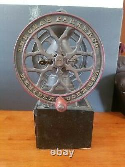 ANTIQUE THE CHA'S PARKER Co. BLACK COFFEE GRINDER MILL MERIDEN CONN. 17 1/2