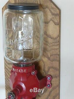 ARCADE CRYSTAL COFFEE GRINDER No. 4 /CATCH CUP, OAK WALL MOUNT, VINTAGE, ANTIQUE