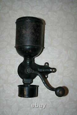 Antique 13 Regal Cast Iron & Black Metal Hand Crank Wall Mount Coffee Grinder