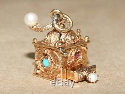 Antique 14k Gold Sapphire Ruby Pearl Coffee Grinder Charm Necklace Pendant 7.6 g