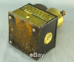 Antique 1883 Iron & Brass Coffee Grinder Grinding Machine w. Porcelain Knob