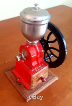 Antique 1930 Elma Red Cast Iron Coffee Grinder Mill With Fly Wheel & Wood Base