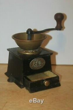 Antique A KENDRICK No. 0 Brass Hopper & Cast Iron Coffee Grinder Box with drawer