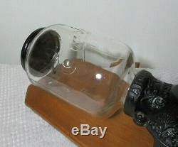 Antique ARCADE CRYSTAL No. 3 Coffee Grinder Complete With Period Catch Cup