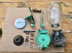 Antique ARCADE Crystal No 4 Wall Mount Coffee Grinder READY to USE