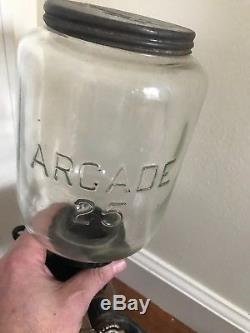 Antique Arcade 25 Wall Mount Coffee Grinder W Glass Catch Cup