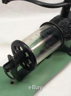 Antique Arcade Cast Iron Crystal No 3 Coffee Grinder Mill with ORIGINAL CATCH CUP