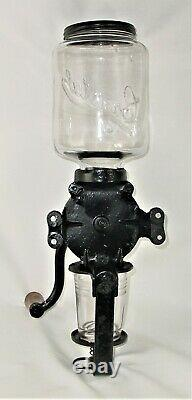 Antique Arcade Crystal Cast Iron Wall Mount Coffee Grinder with Original Glass