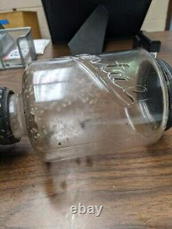 Antique Arcade Crystal Coffee Grinder Mill Catch Cup Kitchen Primitive Cast Iron