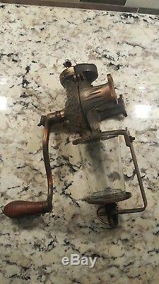Antique Arcade Crystal Coffee Grinder Wall Mount Mill with Original Catch Cup