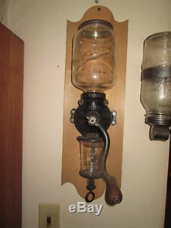 Antique Arcade Crystal N0 3 Coffee Grinder Hand Crank Wall Mount Cast Iron Body