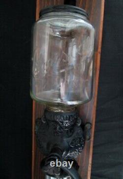 Antique Arcade Crystal No. 3 Cast Iron Wall Mount Coffee Grinder NICE