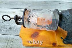 Antique Arcade Crystal No. 3 Wall Coffee Grinder Mill, Original Bean Jar & Lid