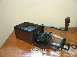 Antique Arcade Golden Rule Wall Mount Coffee Grinder with catch cup