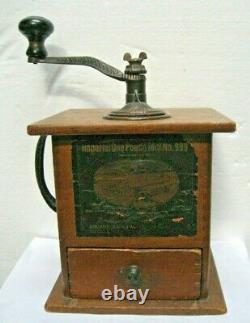 Antique Arcade Imperial No. 999 Coffee Grinder One Pound MILL With Drawer & Label