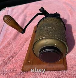 Antique Arcade Royal Embossed Tin & Cast Iron Coffee Grinder Patent 1894