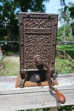 Antique Arcade Telephone Mill Coffee Grinder-Counter Top-Original Catch Cup
