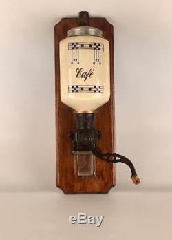 Antique Art DecoDutch Belgian ceramic Coffee Grinder wall mount hand crank café