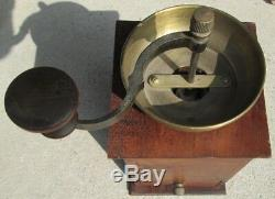 Antique BRASS & FINGER-JOINTED WOOD 12 TALL HAND CRANK COFFEE BEAN GRINDER