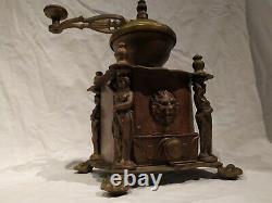 Antique Big Heavy Extraordinary Brass Coffee Grinder Mill w lion head & figures