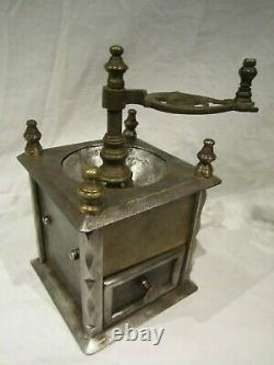 Antique Big Heavy Extraordinary Iron and Brass Coffee Grinder Mill