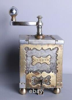 Antique Brass and Iron 1881 Neo Baroque Coffee Grinder