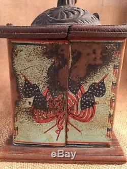 Antique Bronson-Walton Old Glory Tin Litho Coffee Grinder Teddy Roosevelt