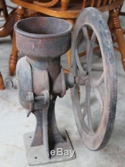 Antique C. S. BELL Cast Iron NO. 3 Large Wheel Coffee Grinder Mill