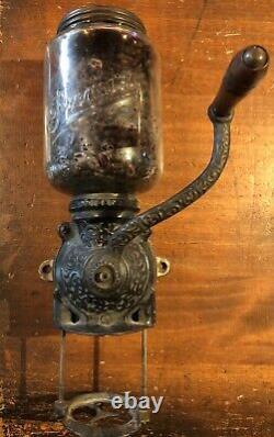 Antique COFFEE GRINDER BRIGHTON WALL MOUNT ORNATE METAL WOOD HANDLE PREMIER JAR