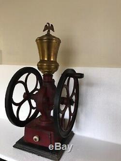 Antique COLES MFG Philadelphia Pa Cast Iron Coffee Mill /Grinder 11.5 Wheels 07