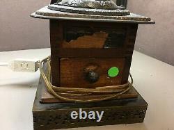 Antique Cast Iron And Wood Coffee Mill Grinder Logan & Strobridge Converted Lamp