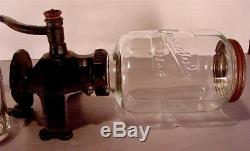 Antique Cast Iron Arcade Wall Coffee Grinder MILL Crystal No. 4 With Catch Cup
