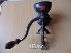 Antique Cast Iron Beatrice The Comet Coffee Hand Mill Grinder Mount kitchenalia